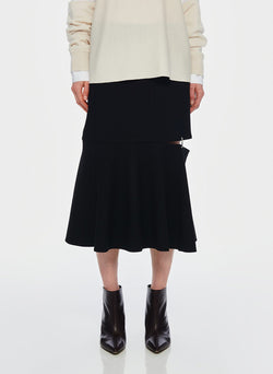 Anson Stretch Cut Out Skirt Black-7