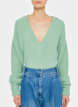 Airy Alpaca V-Neck Pullover with Arm Band Cuffs Celadon-1