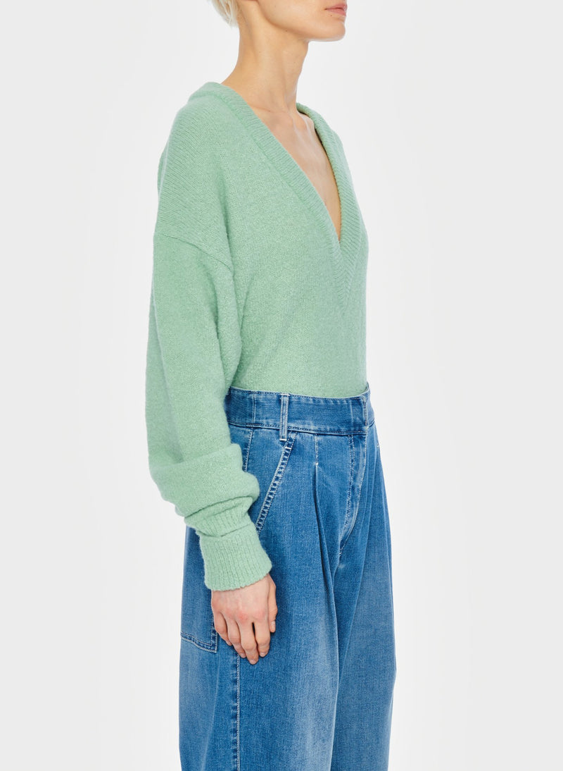 Airy Alpaca V-Neck Pullover with Arm Band Cuffs Celadon-2