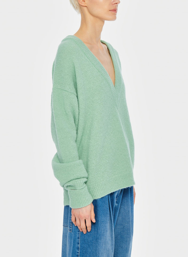 Airy Alpaca V-Neck Pullover with Arm Band Cuffs Celadon-3