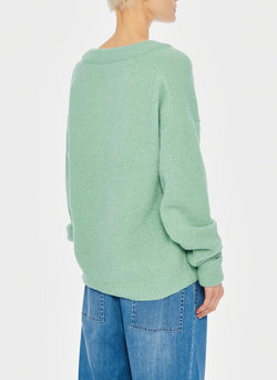 Airy Alpaca V-Neck Pullover with Arm Band Cuffs Celadon-4