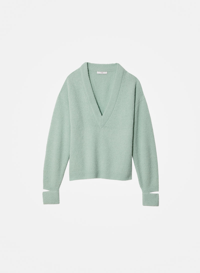 Airy Alpaca V-Neck Pullover with Arm Band Cuffs Celadon-7
