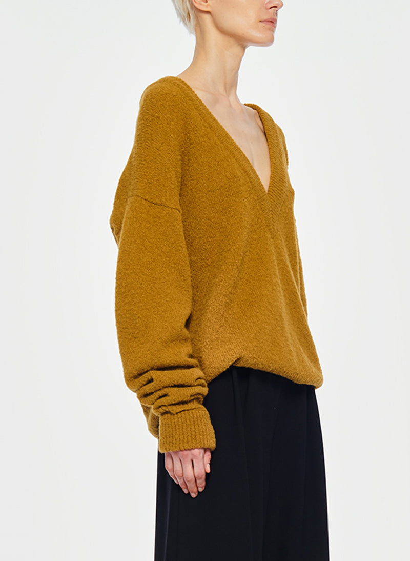 Airy Alpaca V-Neck Pullover with Arm Band Cuffs Copper-14