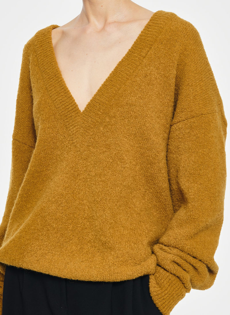 Airy Alpaca V-Neck Pullover with Arm Band Cuffs Copper-17