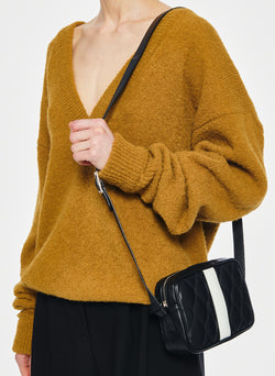 Airy Alpaca V-Neck Pullover with Arm Band Cuffs Copper-18