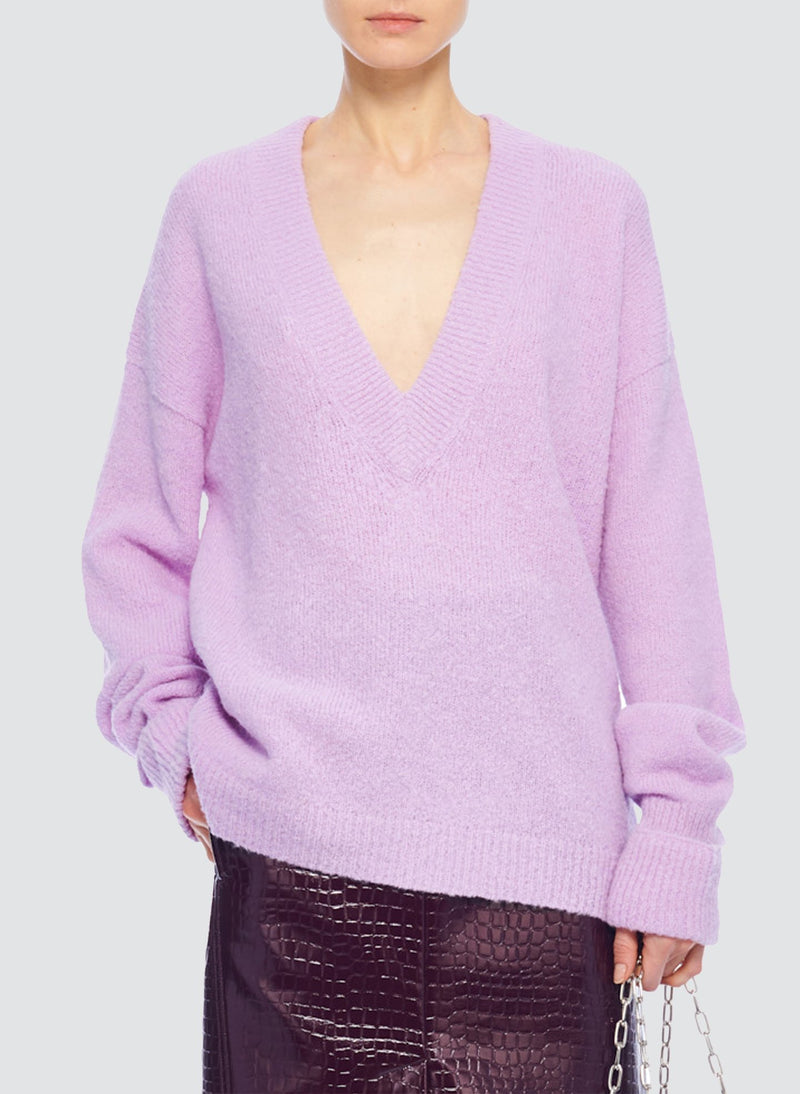 Airy Alpaca V-Neck Pullover with Arm Band Cuffs Mulberry-8