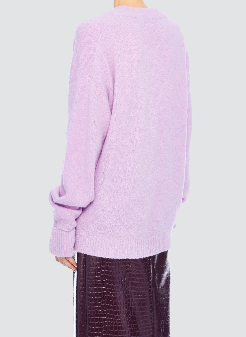 Airy Alpaca V-Neck Pullover with Arm Band Cuffs Mulberry-9