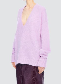 Airy Alpaca V-Neck Pullover with Arm Band Cuffs Mulberry-10