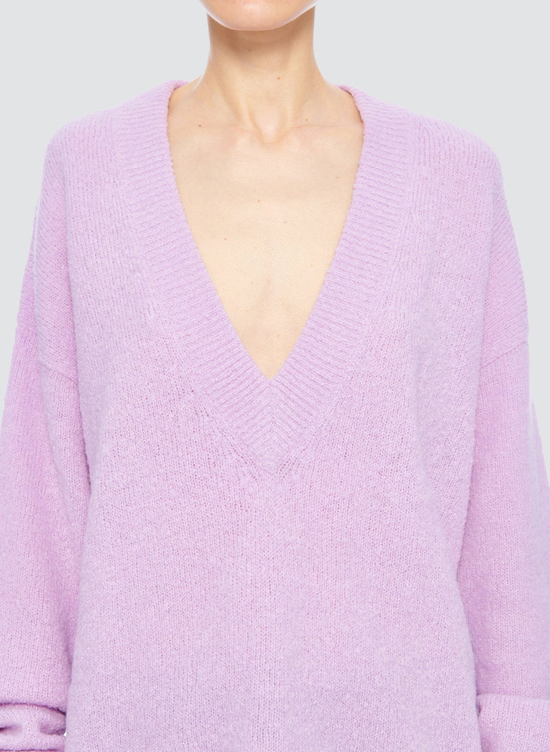 Airy Alpaca V-Neck Pullover with Arm Band Cuffs Mulberry-11