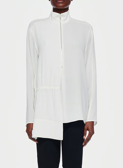 Bibelot Crepe Zip-Up Top Ivory-1