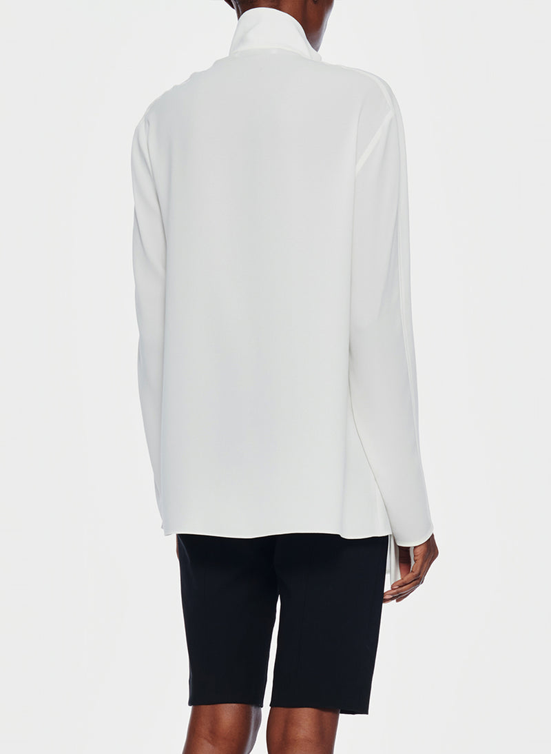 Bibelot Crepe Zip-Up Top Ivory-3