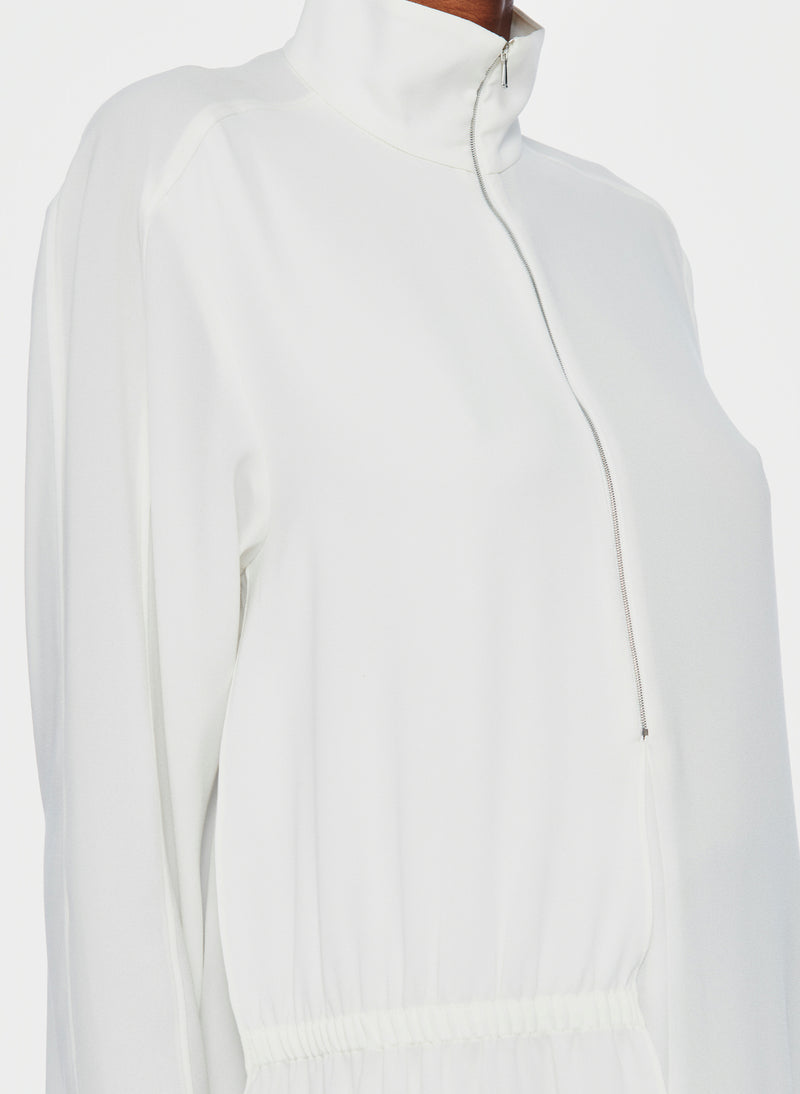 Bibelot Crepe Zip-Up Top Ivory-5