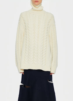 Cable Turtleneck Bareback Sweater Ivory-1