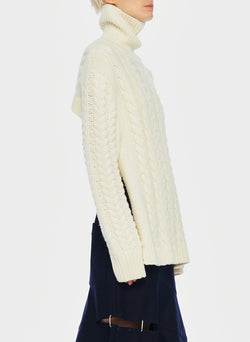 Cable Turtleneck Bareback Sweater Ivory-2