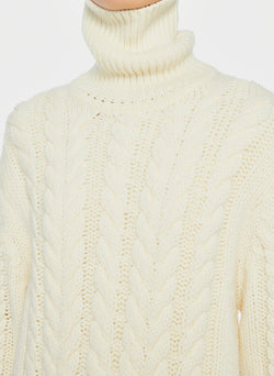 Cable Turtleneck Bareback Sweater Ivory-5