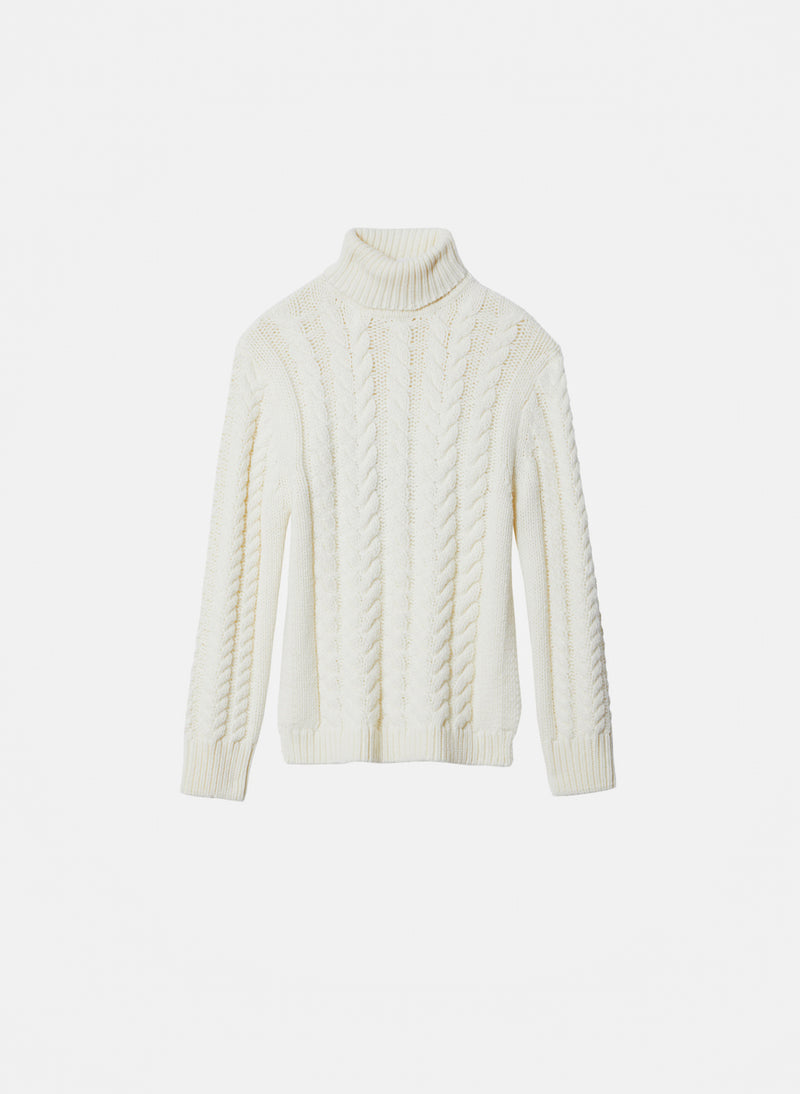 Cable Turtleneck Bareback Sweater Ivory-7
