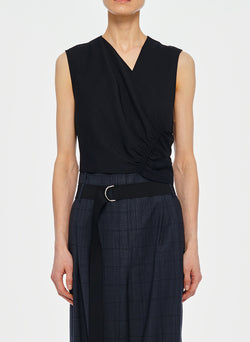 Chalky Drape Shirred Sleeveless Top Black-1