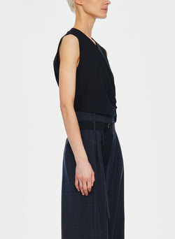 Chalky Drape Shirred Sleeveless Top Black-2
