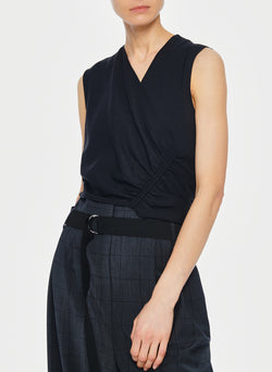 Chalky Drape Shirred Sleeveless Top Black-5