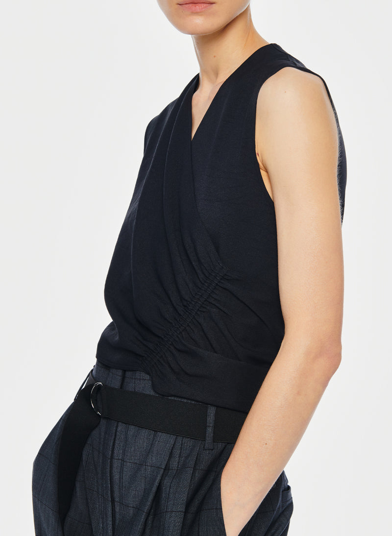 Chalky Drape Shirred Sleeveless Top Black-6