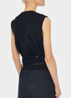 Chalky Drape Shirred Sleeveless Top Black-7