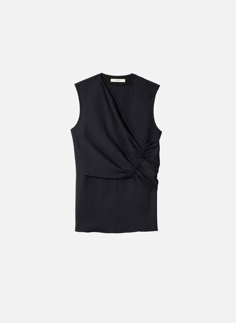Chalky Drape Shirred Sleeveless Top Black-8