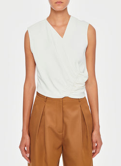 Chalky Drape Shirred Sleeveless Top Ivory-9