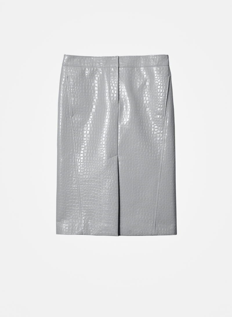 Croc Embossed Patent Trouser Skirt Grey-7