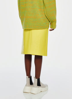Croc Embossed Patent Trouser Skirt Yellow-11