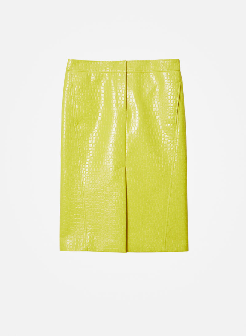 Croc Embossed Patent Trouser Skirt Yellow-15