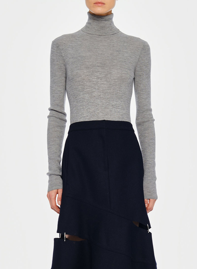 Featherweight Ribbed Turtleneck Light Heather Grey-1