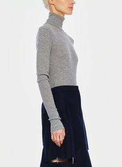 Feather Weight Ribbed Turtleneck Light Heather Grey-7