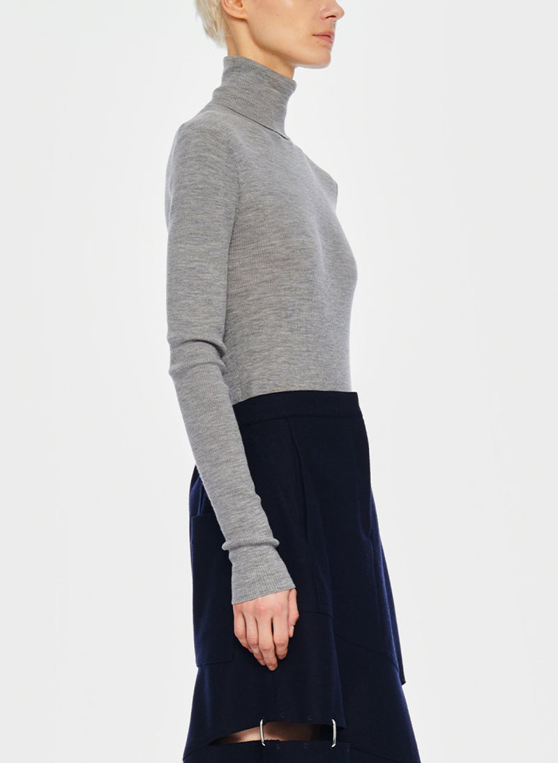 Feather Weight Ribbed Turtleneck Light Heather Grey-2