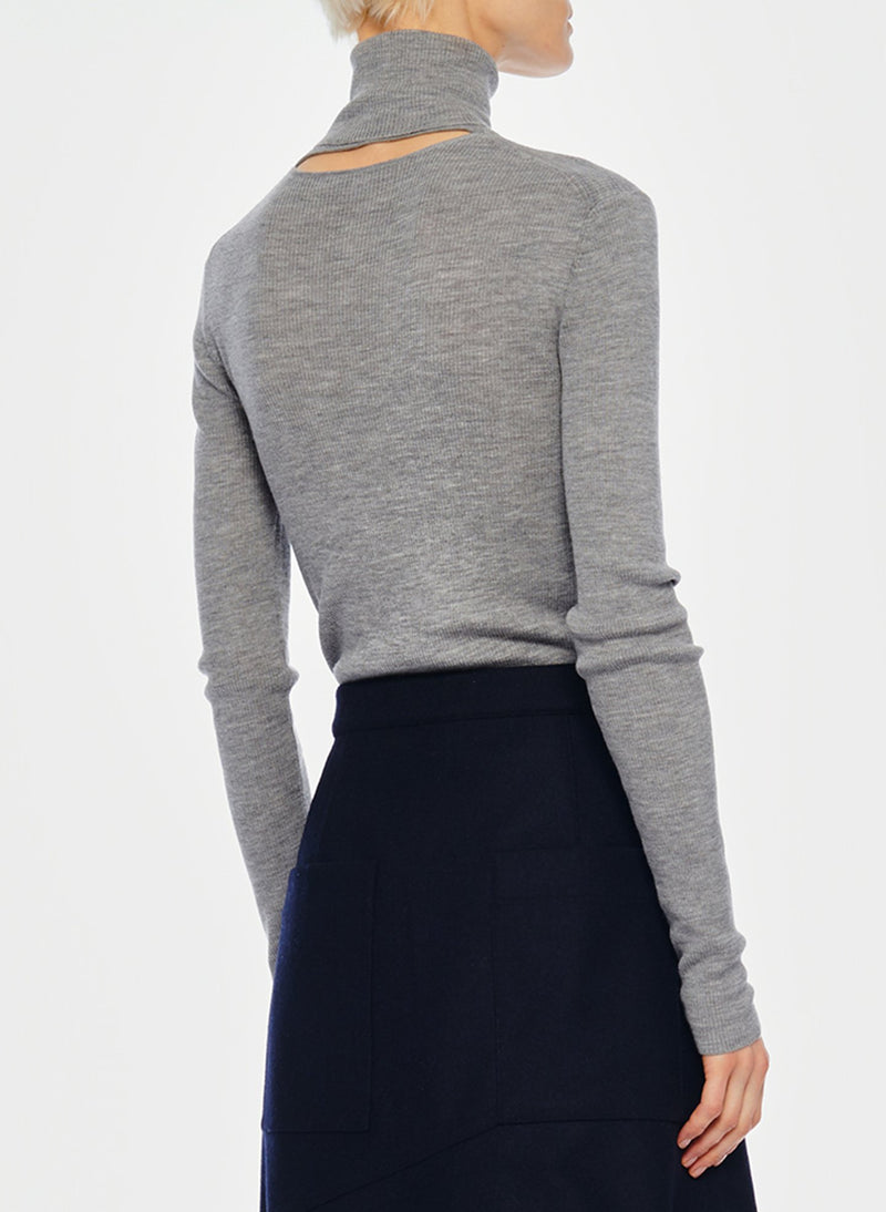 Feather Weight Ribbed Turtleneck Light Heather Grey-4