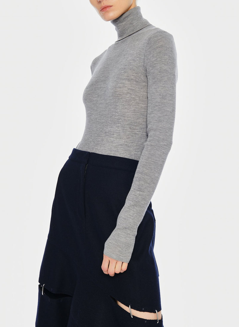 Feather Weight Ribbed Turtleneck Light Heather Grey-3