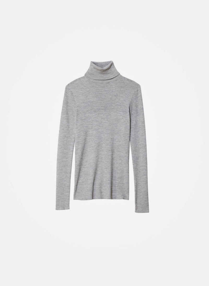 Feather Weight Ribbed Turtleneck Light Heather Grey-11
