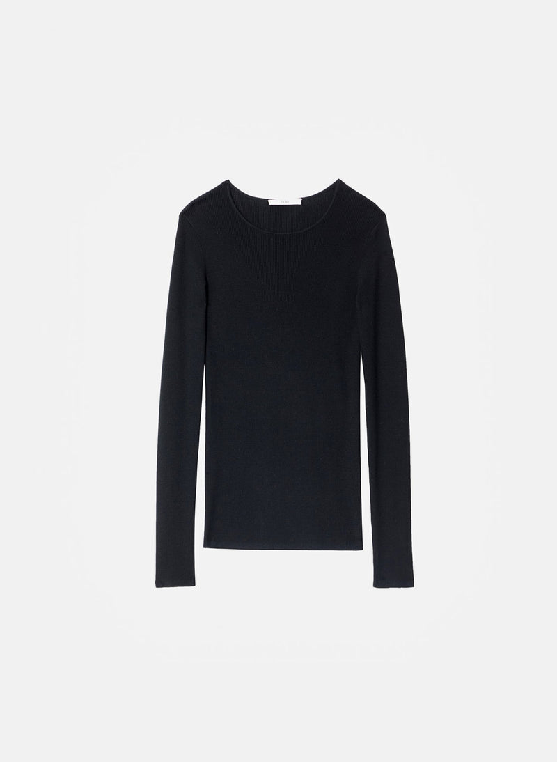 Feather Weight Ribbed Crewneck Black-6