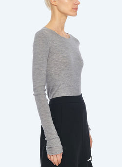 Feather Weight Ribbed Crewneck Light Heather Grey-9
