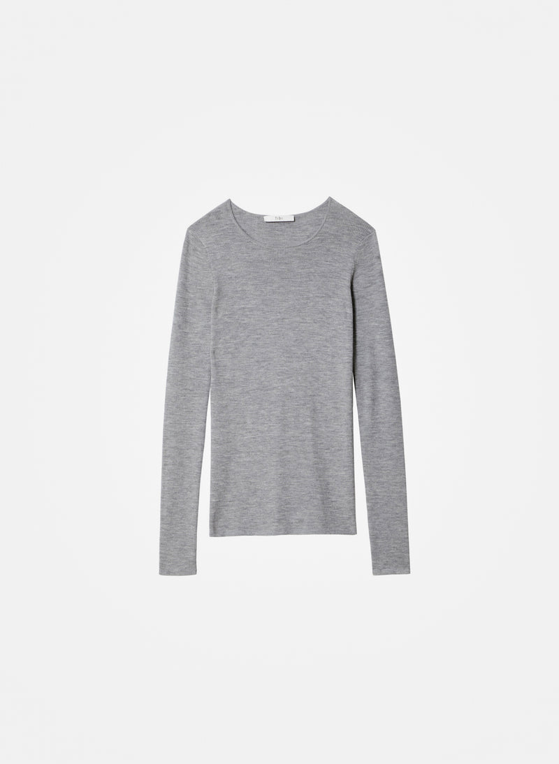 Feather Weight Ribbed Crewneck Light Heather Grey-15