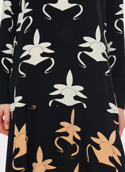 Ghost Orchid Dress Black/Ivory/Tan Multi-5