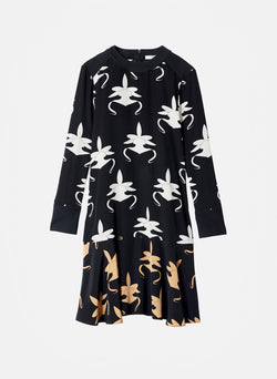 Ghost Orchid Dress Black/Ivory/Tan Multi-7
