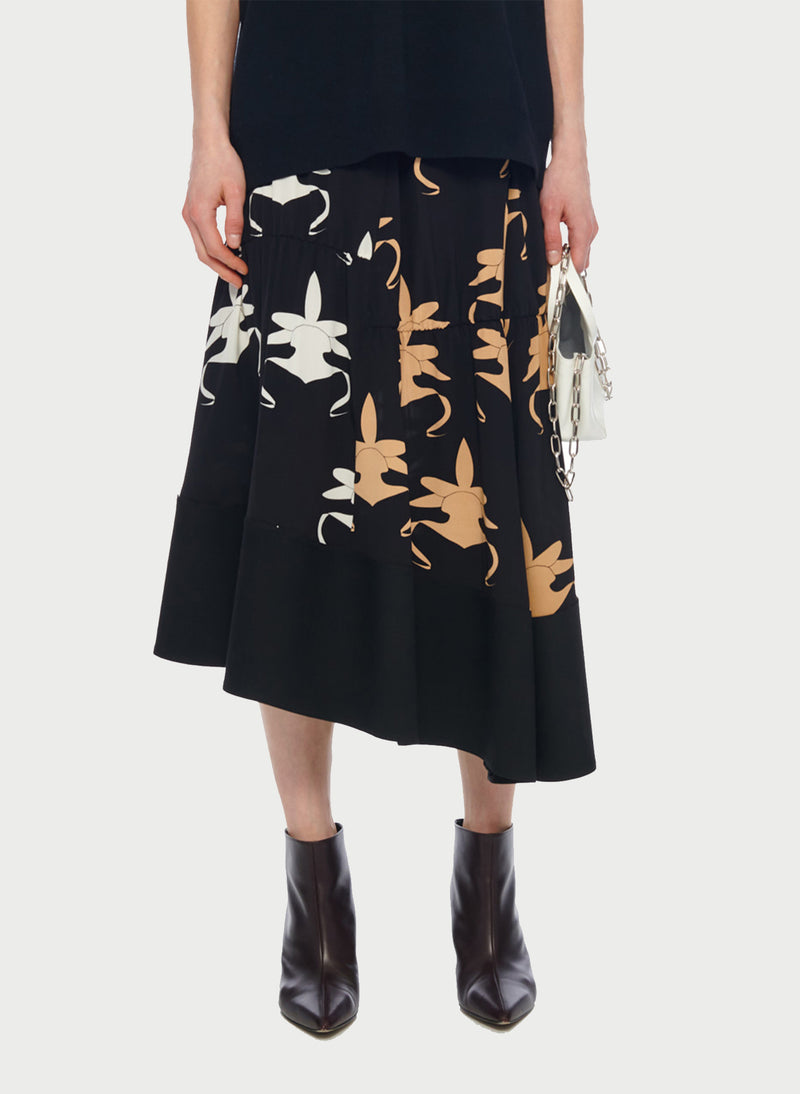 Ghost Orchid Shirred Paneled Skirt Black/Ivory/Tan Multi-1