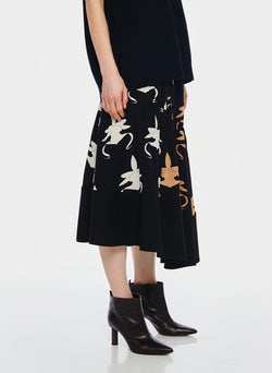 Ghost Orchid Shirred Paneled Skirt Black/Ivory/Tan Multi-2