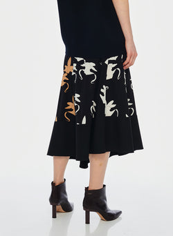 Ghost Orchid Shirred Paneled Skirt Black/Ivory/Tan Multi-3