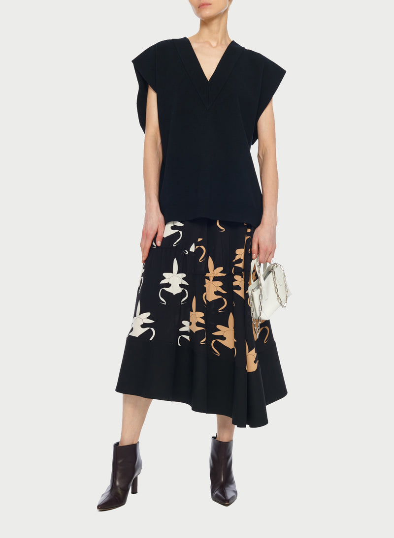 Ghost Orchid Shirred Paneled Skirt Black/Ivory/Tan Multi-6