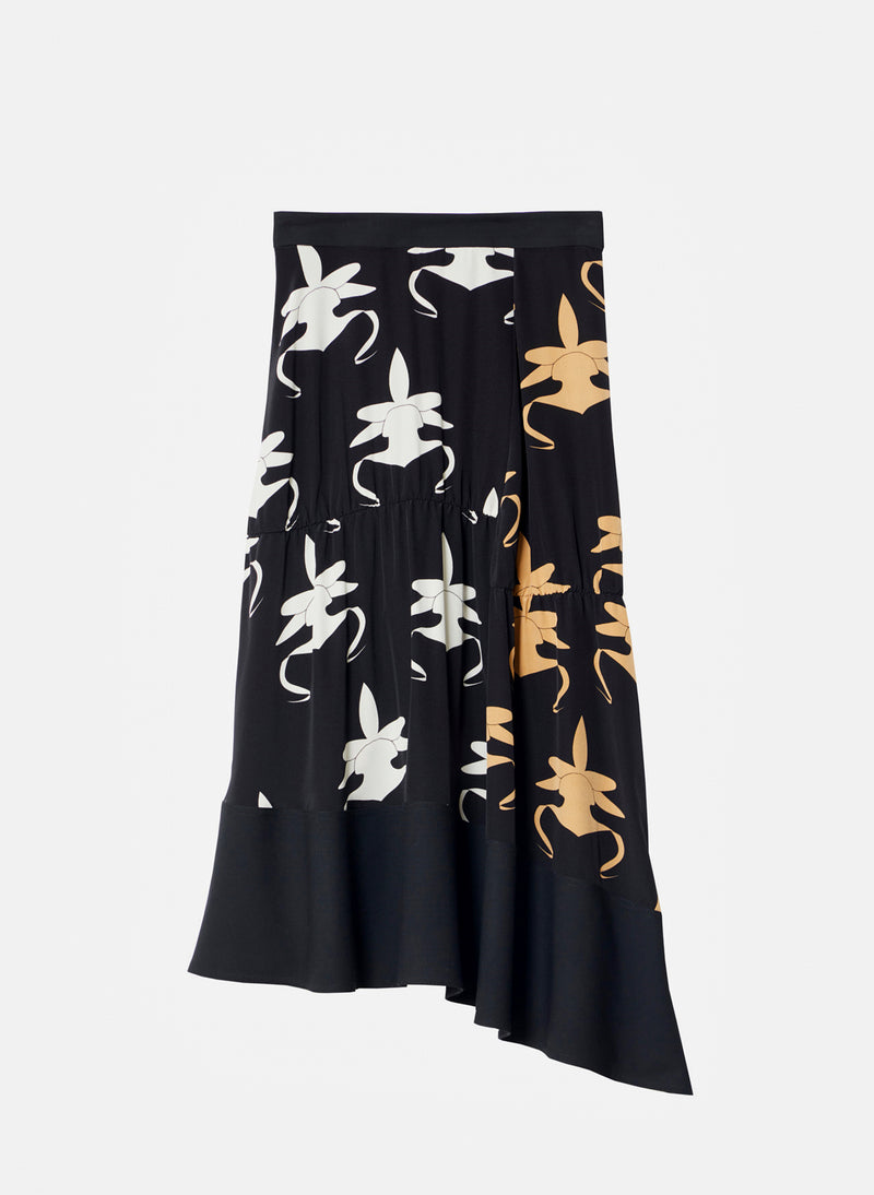 Ghost Orchid Shirred Paneled Skirt Black/Ivory/Tan Multi-7