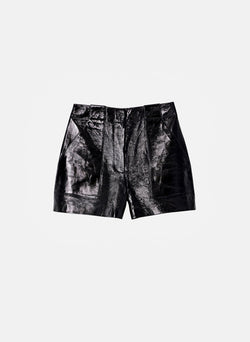 Leather Cargo Short Black-14