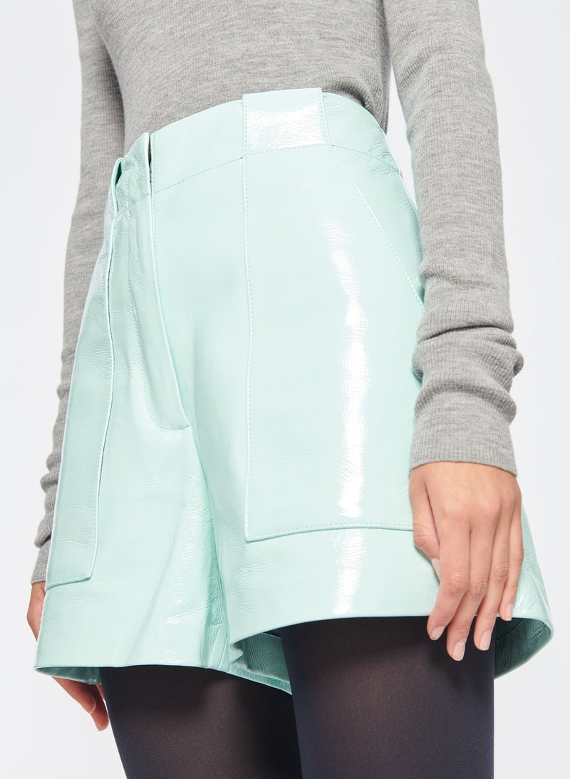 Leather Cargo Short Seafoam-5