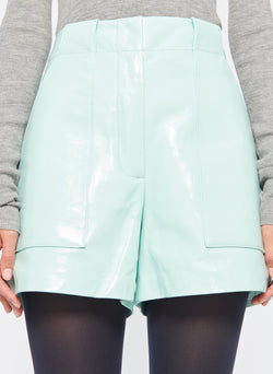 Leather Cargo Short Seafoam-6