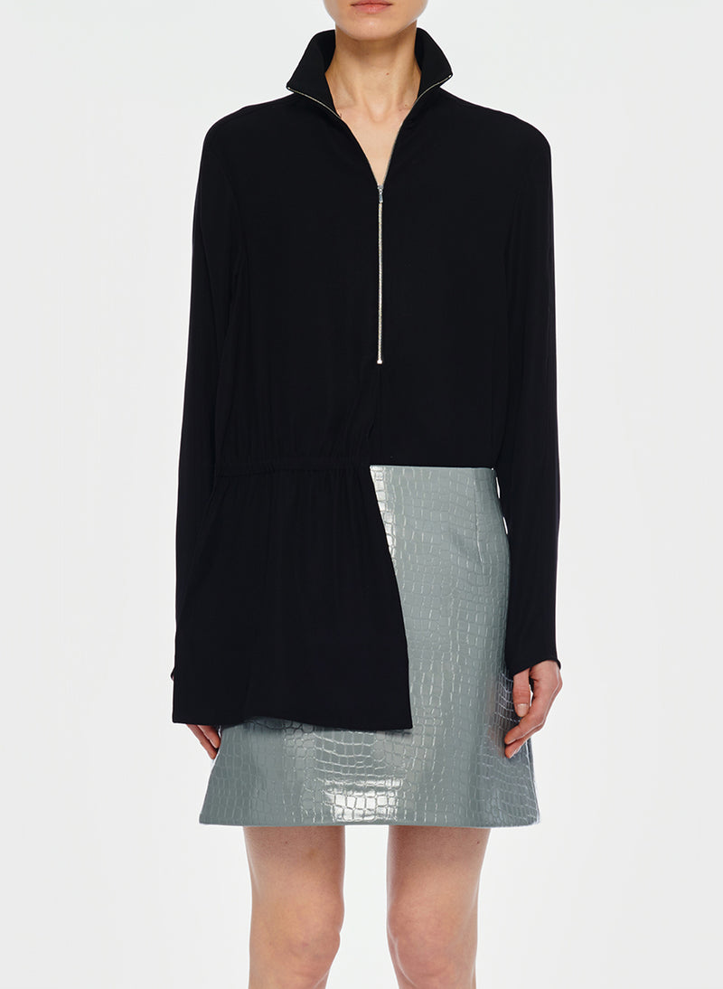 Modern Drape Zip-Up Top Black-1
